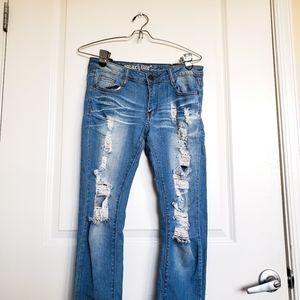 Machine Shredded straightleg skinny Jeans